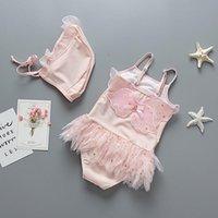 One-Pieces 2pcs Set Girls Swimwear Children's One-piece Swimsuit Princess Ballet Dancing Pink Angel Wings For Baby Tutu Dress