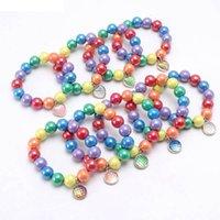 Meninas Pulseira Jóias Crianças Acessórios Arco-íris Beads Bonito Liga De Peixe Escala Pingente B7922