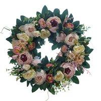 Моделирование розовых и пион гирлянды украшения висит ротанга дверной дом