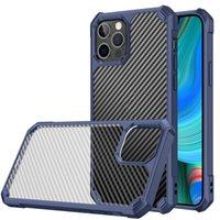 Cas de téléphone transparents de fibre de carbone pour iPhone 13 12 11 Pro Max XS XR x 8 7 6 6S Plus Coque Acrylique Acrylique PC Couverture arrière Hard