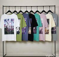 8 colores para hombre diseñador camiseta plantas flores impresión algodón alto calle manga corta camiseta top Ropa masculina de moda casual