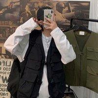 Harajuku Femmes Gilet Simple All-Match Col V coréen Lâche manches sans manches Vintage Gilet Punk HiPhop Punk HiPHOP PLUS Suit Unisexe Femme VES VES