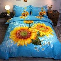 Weiche gebürstete Baumwolle Duvet Set König Königin Größe 4 stücke Blüte Sonnenblumen Rose Floral Casseure Cover Bett Blech Kissenbezüge