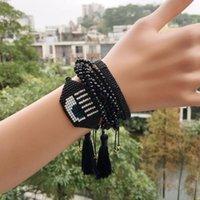 Charm Bracelets MIYUKI Turkish Evil Eye Bracelet Love Pulseras Mujer Heart Jewelry For Women Bileklik Crystal Tassel 2021