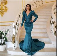 Dubai Arabic Gorgeous Plus Size Mermaid Evening Dresses Long Sleeves Beaded Deep V Neck Sweep Train Satin Formal Dress Prom Party Gowns