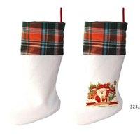 Sublimation Buffalo Plaid Christmas Stocking 4 Colors Blank Halloween Candy Socks Santa Gift Bag Xmas Tree Oranment GWF10943