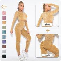 Yoga Outfit 2021 галстук-краска набор с длинным рукавом Урожай Тонн T-рубашка Скрич Приседнети Ужбовье Обучение Леггинсы Эстетики Брюки Женщины для спорта