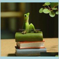 Oggetti decorativi figurine accenti décor quotidiane collezione carino animali figurina creativo verde rana decorazione della casa microissima