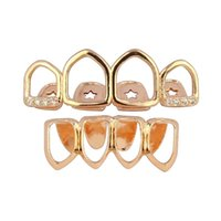 18k Real Gold Punk HiPhop Diamond Dents creuses Grill