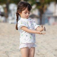 One-Pieces Swimsuit For Girls Bathing Suit Child Short Sleeve Children Swimming Toddler Baby Girl Kids Swimwear Top+short+hat 3pcs Set