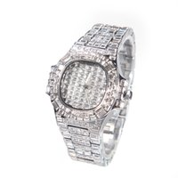Hip Hop Jewelry 38mm Sport Watch 316L Stainless Steel Case Cover Full Diamond Crystal Strap Watches Quartz Wrist Watches Rapper Jewlery Gift
