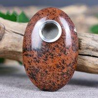Natural Obsidian Oval Cristal Tubulação Estrangeira Jogo Simples Jogo Peça Sucção Palm Stone Padrão