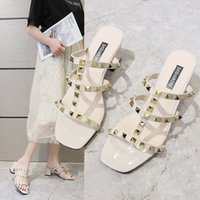Luxury Dress Shoes Thick High Open Toe Rivet Sandals Liuding Middle Heel's Sho
