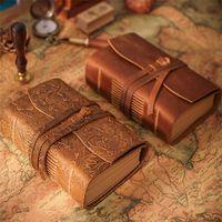 Libro de diario de cuero Vintage Hecho a mano Bloc de notas 400p Páginas en blanco Brown Dibujo Sketchbook Travel Diary 1xbjk2104