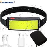Pocketman 30000LM мощный COB Светодиодная фара Поратра встроенные фары фарш Батарея USB Аккумуляторная головная лампа Водонепроницаемый факел факел