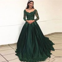 Vintage Dark Green Ball Gown Evening Bridesmaid Dresses 2021 V neck Long Lace Sleeves satin Ruched Appliue Quinceanera Prom Party Cocktail Dress