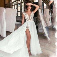 Sexy Deep V- Neck Chiffon Wedding Dresses Appliques Lace long...