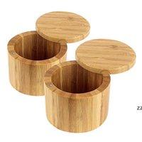 الخيزران الطبيعي وعاء التوابل لوازم المطبخ المنزلية أدوات التوابل الفلفل الفانيليا تخزين مربع جولة الشاي الملح الأواني HWB8505