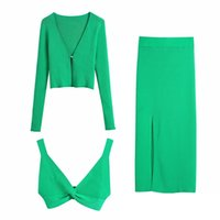 Fashion Green Knitted Ribbed 3 Pieces Women Sets Y2K Summer Holiday Single Button Loose Coat Sexy Underwear Bra High Waist Skirt 211019