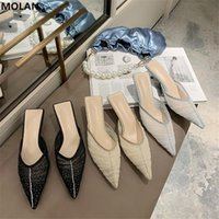 Dress Shoes MOLAN Brand Designers 2021 Summer Fashion Sexy Bling Air Mesh Kitten Heels Lady Pumps Sandals Slippers Mules Flip Flops Outsdie
