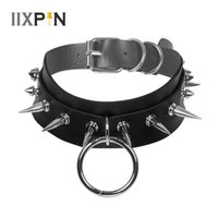 Big O-Round Gothic Men Women Unisex Faux Leather Spike Exaggerated Rivet Choker Statement Necklace Nightclub KTV Jewelry Chokers