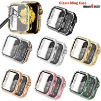 Glass Diamond Case with Screen Protector for Apple Watch 38 44mm Series 6 5 4 SE Ultra-Thin Bumper Cover iwatch Protective Cases