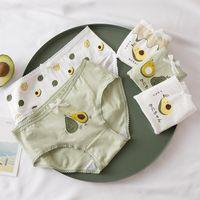 고품질 아보카도 브리핑 4pcs / lot 소녀 팬티 녹색 속옷 코튼 란제리 편안한 팬티 2456 Q2