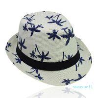 Adult Kids Summer Straw Weave Sun Hat Parent-Child Tropical Coconut Tree Printed Short Curly Brim Retro Jazz Bucket Cap Wide