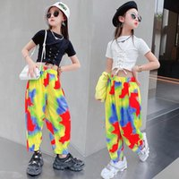 Summer Teenage Girls Streetwear Tracksuit Hip Hop Style Solid Crop Top T-shirt+Tie Die Pants 2pcs Ballroom Dancing Clothes Clothing Sets