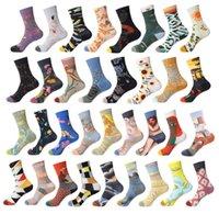 wholesale fashion designer Cartoon print socks classic men women oil painted Autumn winter pure cotton knitting sock outdoor sports deodorize stockings 34 color