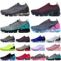 Nike Air VaporMax Flyknit 2.0 2018 2021 En Kaliteli MOC 2 Laceless 2.0 Klasik Rahat Ayakkabılar Üçlü Siyah Tasarımcı Erkek Kadın Sneakers Fly Beyaz Örgü Yastık Trainers Zapatos