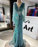 2021 Arabic Velvet Mermaid Prom Dresses Luxury Beading Sequined Pleats Long Sleeve Women Formal Evening Gowns