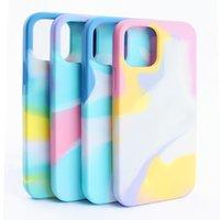 Gradiente Arco-íris Aguarela Líquido Casos de Silicone Proteção Proteção Phone Case Capa Para iPhone 13 12 Mini 11 Pro Max XR XS x 8 7 PLUS com pacote de varejo