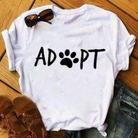 Women's T-Shirt Women Female Womens Top T Shirt T-shirts Tee Dog Flower Adopt Funny Animal Pet Lady Clothing Ladies Graphic