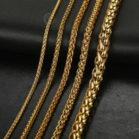 Chains 3 5 6 9.5 Mm Mens Womens Necklace Gold Color Stainless Steel Braided Wheat Link Chain Jewelry Gifts LKN656