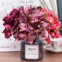 Decorative Flowers & Wreaths 1 Bouquet 7-Head Artificial Flower Orchid Home El Wedding Bridal Table Decor Vivid Color Non-fading Dried