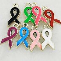 Fighter Brey Cancer Consapevolezza Pink Ribbon Charms Charms CCB Ciondolo di fascino adatto per collana Braccialetto Gioielli Fare fai da te Accessori fatti a mano 20x10mm