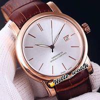 Montres de designer San Marco Classico Rose Gold Case 8156-111-2 / 91 Montre Mens automatique Date Stud blanc Cadran blanc Bracelet en cuir brun 6color rabais