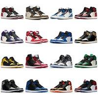 1s scarpe da basket da uomo Jumpman 1 Dark Mocha Military Blue omaggio a casa Nero rosso Mark UNC Top 3 mens Sneakers sportivi taglia 36-46