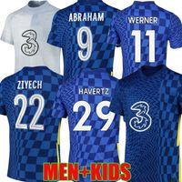 21 22 CFC Werner Havertz 축구 유니폼 홈 T.Silva Abraham Chilwell Ziyech 축구 셔츠 Pulisic Giroud Camiseta 2021 2022 Kante Mount Men Kid Kit Tops Maillots