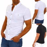DIHOPE Männer Casual Hemden Solide Kurzarm Baumwolle Button Down Dress Hemden Drehen Kragen Male Slim Fit Büro Party Tops1