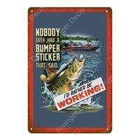 Barca No Fishing Vintage Tin Signs Retro Poster Decorazione della parete per la lago Cabin Cabin Regalo regalo Lunkers Piastra metallica