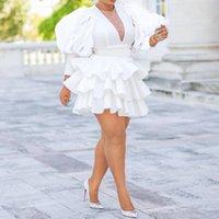 Casual Jurken Afrikaanse Dames Plus Size White Party Jurk Vintage Puff Sleeve Leuke Ruffle Tiered Layered Summer Spring Ladies Club Mini