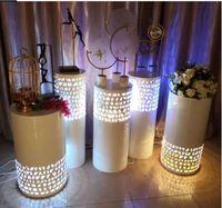 Decoração de festa redonda luz 5 pcs riser ferro branco led cilindro plinto pedestal casamento