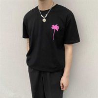 brand Chrome-hearts new Fashion palm bear PA pink coconut letter printed short sleeve men's and women's casual T-shirt
