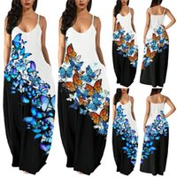 Casual Dresses Women's Dress Ladies Summer Maxi Loose Butterfly Printing Sexy Sleeveless Cami Pockets Beach Sundress Vestidos