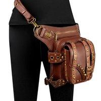 Waist Bags Unisex Rivet Leg Bag High Cortex Drop Punk Rock Motorcycle Thigh Hip Belt Chain Shoulder Crossbody Purse