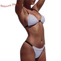 Bras Sets Sparkling Sexy High Cut Bikinis Women Micro Thong Swimsuit Solid Swimwear Bathing Summer Beachwear Biquini A50