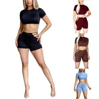 Women's Tracksuits Close Fitting Two-piece Suit, 2021 Summer Fashion Solid High Collar, Short Sleeve, Navel Dress And Shorts