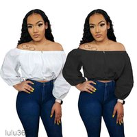 Women's Blouses & Shirts 2021 Autumn Winter Women's Solid Color Lace Stitching Sexy One-shoulder Puff Sleeve Off-shoulder Tops lulu365